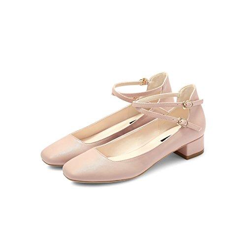 Talons Chaussures Chaussures À foncé Taille Chaussures WENJUN À Pink 38 Couleur Lanières Baotou Mary Bare Femmes Chaussures Jane Chaussures Talons Vert Personnalisées Chaussures À pour Fx0dqa8