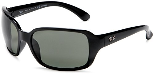 Ray Ban Sunglasses RB 4068 601 Glossy Black/Crystal Green, - Ray Ban Wrap Around Sunglasses