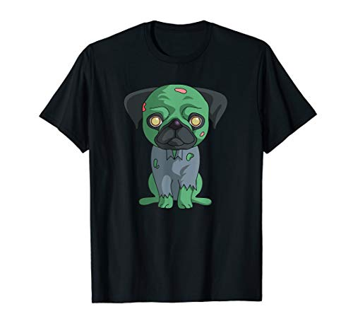 Zombie Pug T-Shirt Funny Dog Halloween Gift Shirt