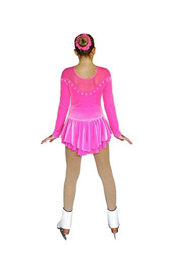 Chloe Noel DLV24 Sweetheart Long Sleeve Sparkle Velvet Dress with Mesh (Sparkle Folly Pink, Child Large)