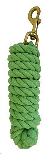 AJ Tack Wholesale Horse Lead Rope Premium Cotton 10 Feet Brass Bolt Snap Lime Green