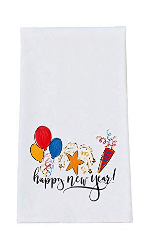 New Years Holiday Print Tea Towel - Holiday Kitchen Decor, Hostess Gift Idea