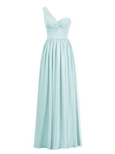 Alicepub Une Robe De Soirée En Mousseline De Soie Robe De Demoiselle D'honneur D'une Ligne Longue Épaule Bal Bleu Clair