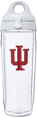 Tervis 1074972 Indiana University Emblem Individual Water Bottle with Gray Lid, 24 oz, Clear