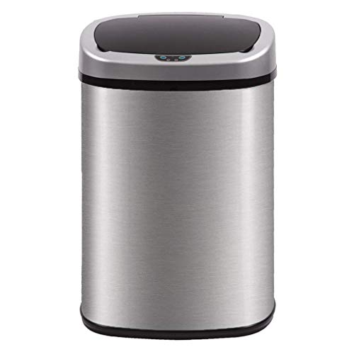 - Kitchen Trash Can for Bathroom Bedroom Home Office Automatic Touch Free High-Capacity Garbage Can with Lid Brushed Stainless Steel Waste Bin 13 Gallon / 50L