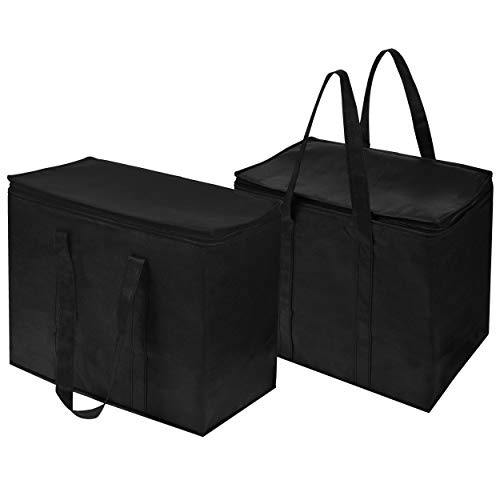 Insulated Grocery Bags (2-Pack), Leakproof Liner, Reusable, Thicker Thermal Material, Extra Large Size, Stands Upright, Collapsible, with Zippered ()