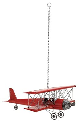 "Large 31"" Handcrafted Antique Metal Bi-Plane Airplane Model Toy Replica - Red"