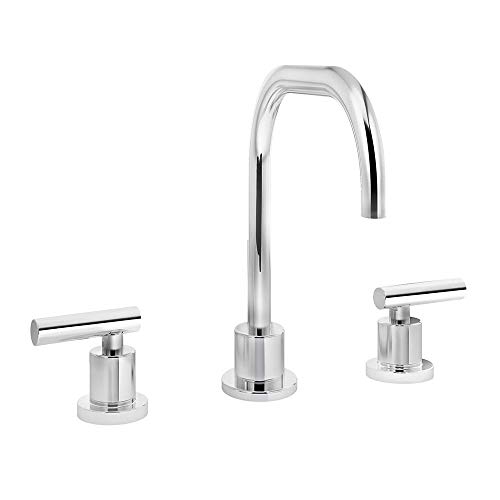 Wovier Chrome 8-16 Inch Waterfall Bathroom Sink Faucet,Two Handle Three Hole Vessel Lavatory Faucet,Widespread Basin Mixer Tap with Pop Up Drain