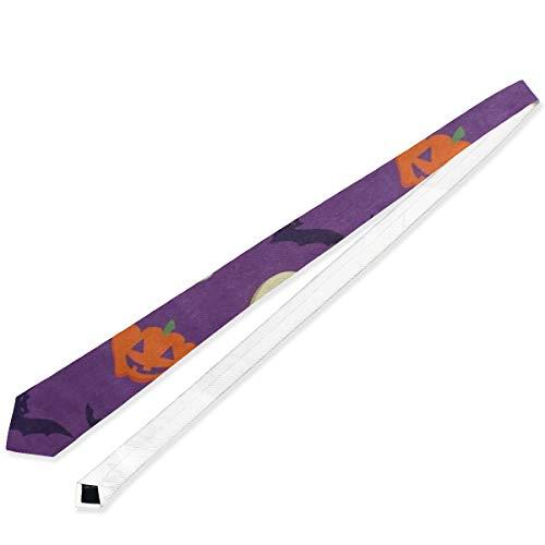 Halloween Pumpkin Face Bat Mens Ties Cool Long Necktie Silk Casual Neckwear for women]()