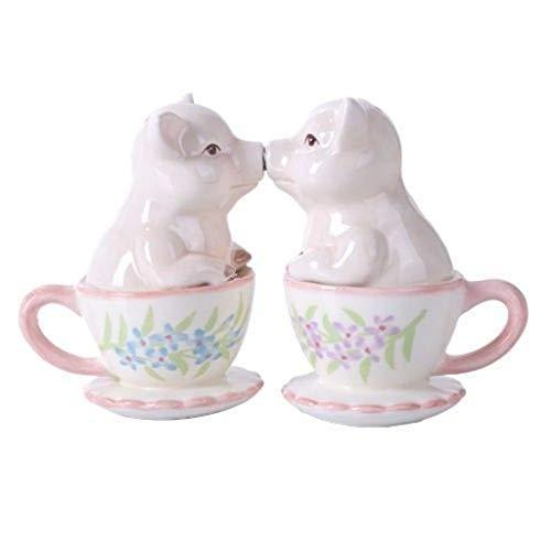 Colored Salt Pig - inilofigurine Couple Kissing Teacup Miniature Pigs Hog Heavens Ceramic Salt Pepper Shaker Set