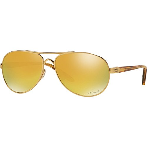 Oakley Women's Tie Breaker Polarized Iridium Aviator Sunglasses, Polished Gold, 56.02 - Sunglass Ties
