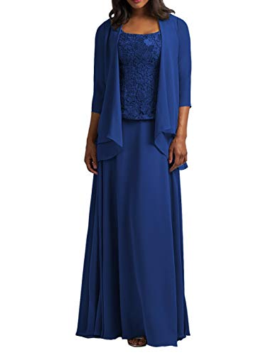 Cdress Chiffon Mother of The Bride Dresses with Jacket Long Evening Formal Gowns Plus Size Lace Prom Dress Royal Blue US 20W