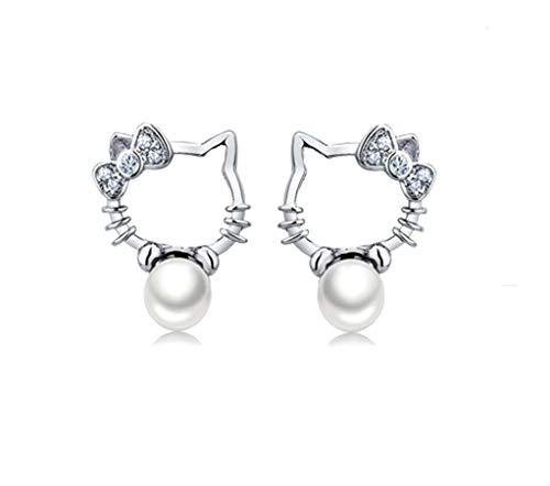 Cute Hello Kitty Earrings Pearl Cubic Zircon Bow Cat stud earrings For Girls Women White Gold Plated Hypoallergenic