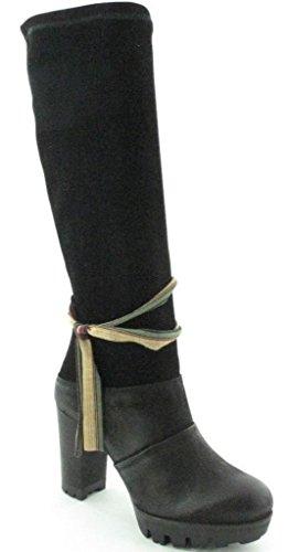 Felmini 9060 Noir Suede Cuir Femmes Block Heel Hi Bottes