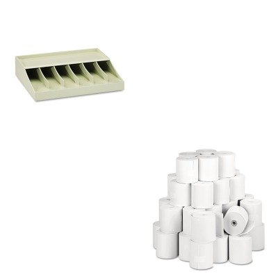 KITMMF210470089PMC05213 - Value Kit - Pm Company Single-Ply Thermal Cash Register/POS Rolls (PMC05213) and MMF Bill Strap Rack (MMF210470089)