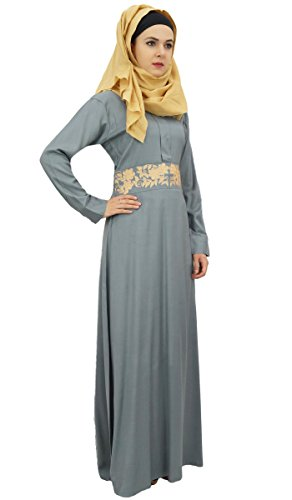 Rayon Cotone Hijab Jilbab Grigio Bimba Signore Abaya Maxi Musulmani 8 Con Vestito qw6qxXzvg