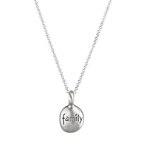 "Dogeared Make A Wish Family Word Pebbles Necklace, Sterling Silver 16"" with 2"" Extender"