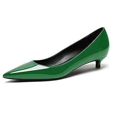 Eldof Women's Low Heel Pumps Pointed Toe Kitten Heels Slip on Comfort Pumps 1.4 Inches for Dress Party Office Green US 6.5