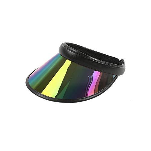 Maxrise Sun Visor Hat Hologram Wide Brim UV Protection Sports Headband Cap Black