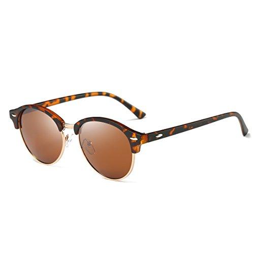 - AZORB Polarized Clubmaster Round Sunglasses Unisex Semi-Rimless Horn Rimmed (Tortoise/Brown, 53)