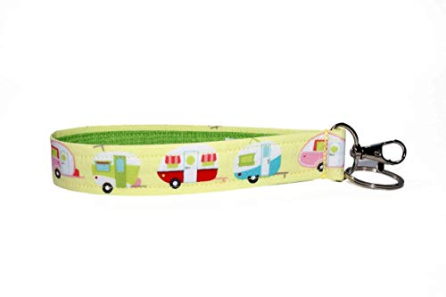 Camper-Keychain-6-Camping-Key-Fob-Strap-Yellow-Glamping-Trailers-RV-Accessories-Purse-Strap