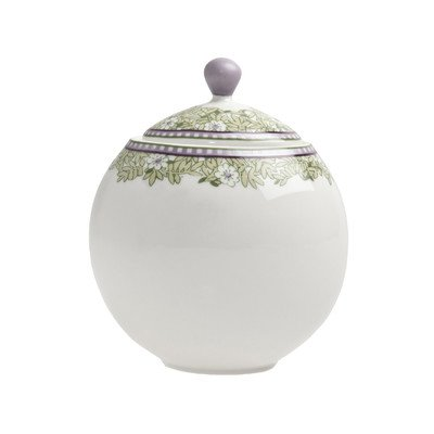 Monsoon Daisy 10.5 Oz. Covered Sugar Bowl with Lid (Denby Porcelain Sugar Bowl)