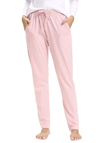 - Hawiton Women's Striped Drawstring Sleep Pants Cotton Pj Bottoms with Pockets Pink