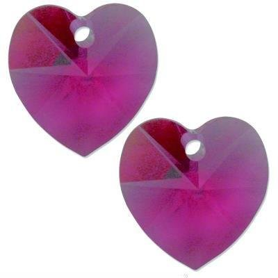 - 2 Fuchsia Swarovski Crystal Heart Pendant 6202 14mm