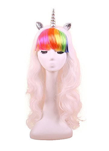 Unicorn Head Costume (YallFairy Womens Girls Assortment Of Unicorn Wigs And Headpieces (color C))