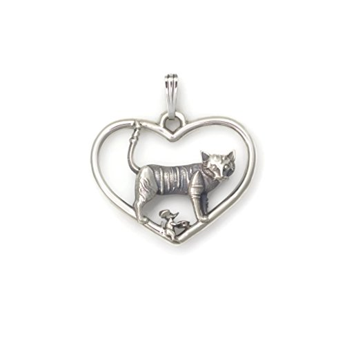 Sterling Silver Whimsical Cat (Sterling Silver Cat Necklace, Silver Cat Pendant fr Donna Pizarro's Animal Whimsey Collection of Silver Cat Jewelry)
