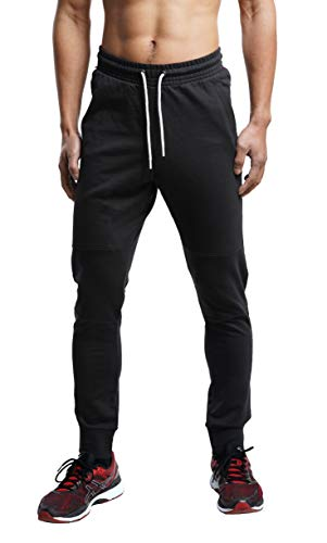 FORBIDEFENSE Men's Jogger Pants Sweatpants Casual Athletic Trousers Cotton Terry for Gym Running Black+White Large