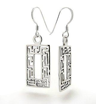 (Greek Key Geometric Rectangle Sterling Silver Hook Earrings)