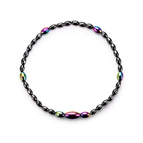 - TIDOO Jewelry Womens Magnetic Hematite Anklet Therapy Necklace Hematite Round Beads Healing Stone Chain(12#)