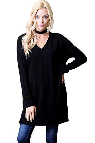 Sólido Redondo Camiseta Negro3 Pull Tops Túnica Sudadera Mujer Suelto Casual De Basic Capucha Largo Baijiaye Manga Cuello over Larga Blusas Sin Color wPYq1aqOxR