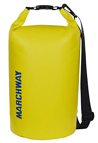MARCHWAY Floating Waterproof Dry Bag 5L/10L/20L/30L/40L, Roll Top Sack Keeps Gear Dry for Kayaking, Rafting, Boating, Swimming, Camping, Hiking, Beach, Fishing (Lemon Yellow, 10L)