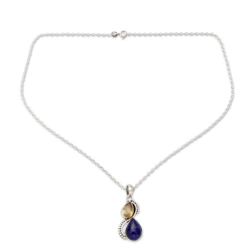 NOVICA .925 Sterling Silver Lapis Lazuli and Citrine Pendant Necklace, 18