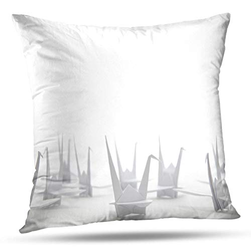 KJONG Collection White Origami Cranes White Art and Asian Bird Square Decorative Pillow Case 20 x 20inch Zippered Pillow Cover for Bedroom Living Room(Two Sides Print)