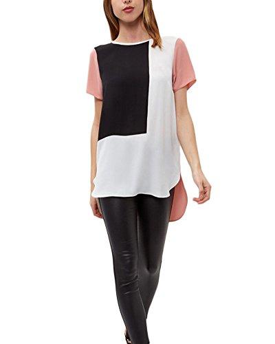 Qitun Camicetta Chiffon T-Shirt di Grandi Dimensioni Giuntura Manica Corta Camicia da Donna Pink