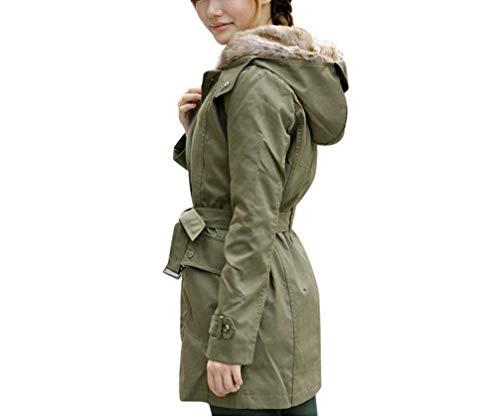 Addensare Armeegrün Donna Manica Cappuccio Solidi Anteriori Tasche Pelle Colori Invernali Button Abbigliamento Giacca Stile Cappotti Modern Inclusa Lunga Mantello Con Cintura Di Ft5OOq4w1x