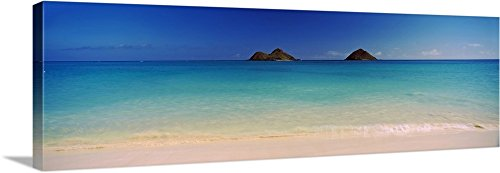 Canvas on Demand Premium Thick-Wrap Canvas Wall Art Print entitled Islands in the Pacific Ocean, Lanikai Beach, Mokulua Islands, Oahu, Hawaii 60''x20'' by Canvas on Demand