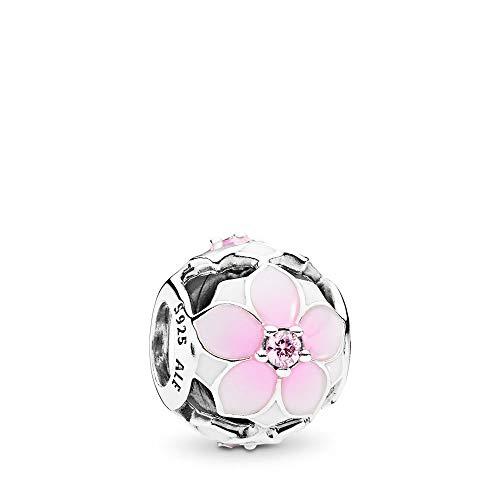 PANDORA Magnolia Bloom Charm, Sterling Silver, Pale Cerise Enamel & Pink Cubic Zirconia, One Size ()