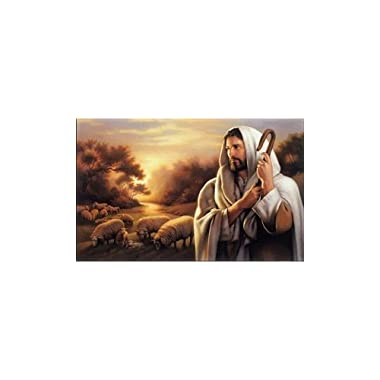 Oil Painting On Canvas Jesus Christ The Good Shepherd 18 x 28 Unframed