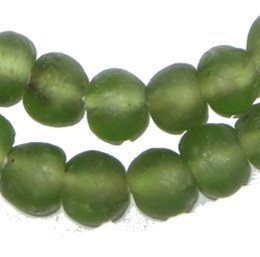 African Recycled Glass Beads - Full Strand of Eco-Friendly Fair Trade Beads from Ghana - The Bead Chest (14mm, Asparagus Green)