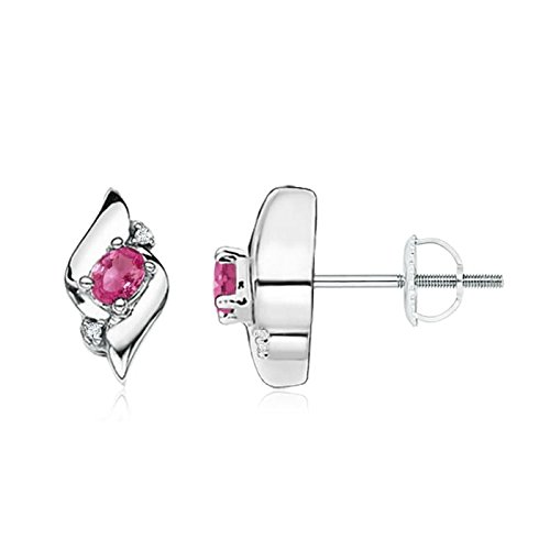 Oval Pink Shell Earrings - Shell Design Oval Pink Sapphire and Diamond Stud Earrings for Women in 14K White Gold (4x3mm Pink Sapphire)