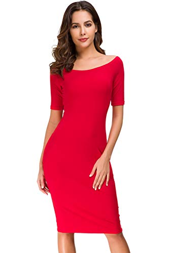 Acacia Flowers Women's Knitting Casual Off Shoulder Short Sleeve Bodycon Tight Midi Dress Cocktail Party Pencil Dresses - Shoulder Dress Bodycon