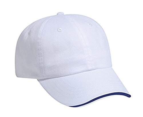 Hats & Caps Shop Brushed Cn Twill Sandwich Visor Low Profile Pro Style Caps - Wht/Wht/Nvy - By TheTargetBuys