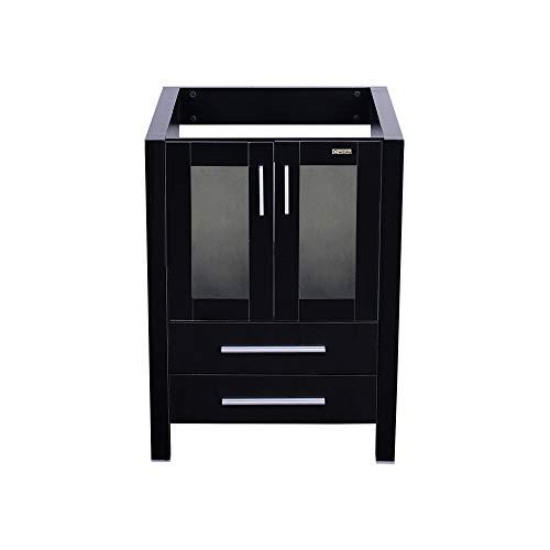 "eclife 24"" Black Bathroom Vanity Cabinet Modern Pedestal Cabinet Set Pedestal Stand Wood Soft Closing Cabinet Doors Set, Without Mirror (B03-1)"