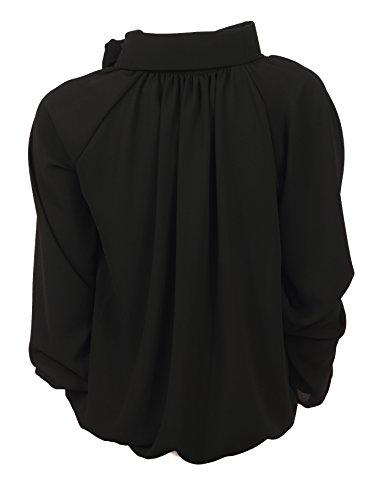 Chemisier Montant Femme Uni Col Noir Noir empire Black Taille Pink 7Yqp5p