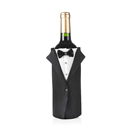 ULA Bride and Groom Wine Bottle Cover-Black Tuxedo Wine Cover Funny Gifts,Bridal Shower Gifts,Newlywed Gifts,Couples Gifts,Wedding Decoration (Black Tuxedo Classic)