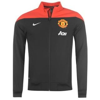 2013-14 Man Utd Nike Woven Sideline Jacket (Black-Red)